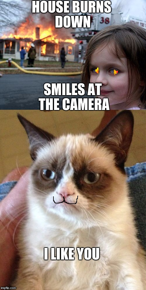 grumpy cat has a unique taste in friends | HOUSE BURNS DOWN SMILES AT THE CAMERA I LIKE YOU | image tagged in grumpy cat,disaster girl,lol | made w/ Imgflip meme maker
