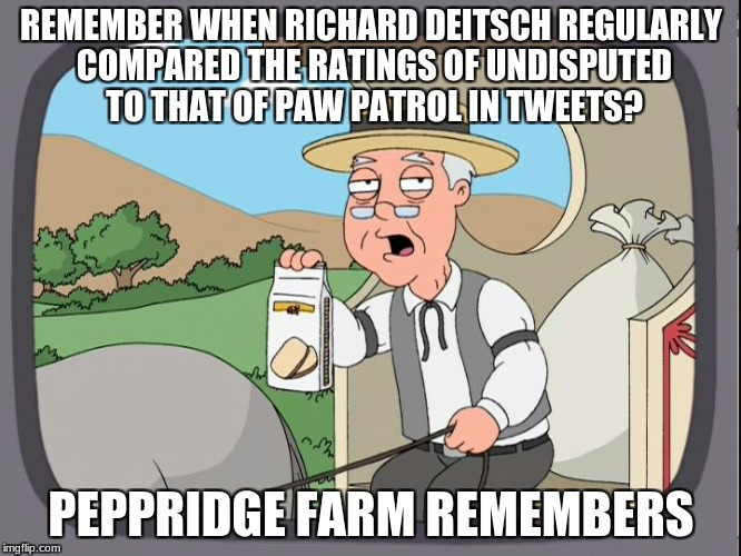 A Ratings Hawt Taek, brought to you by Peppridge Farms | REMEMBER WHEN RICHARD DEITSCH REGULARLY COMPARED THE RATINGS OF UNDISPUTED TO THAT OF PAW PATROL IN TWEETS? PEPPRIDGE FARM REMEMBERS | image tagged in peppridge farms remembers | made w/ Imgflip meme maker