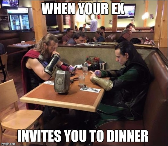 Awkward Ex dinners be like: | WHEN YOUR EX INVITES YOU TO DINNER | image tagged in awkward family dinner,memes | made w/ Imgflip meme maker