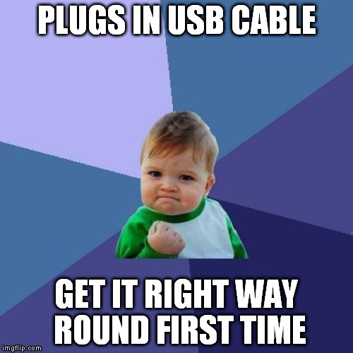 Success Kid Meme | PLUGS IN USB CABLE GET IT RIGHT WAY ROUND FIRST TIME | image tagged in memes,success kid | made w/ Imgflip meme maker