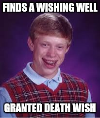 Bad luck Brian | FINDS A WISHING WELL GRANTED DEATH WISH | image tagged in bad luck brian,memes | made w/ Imgflip meme maker