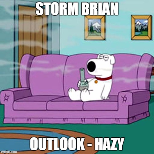 STORM BRIAN OUTLOOK - HAZY | image tagged in hazy brian | made w/ Imgflip meme maker