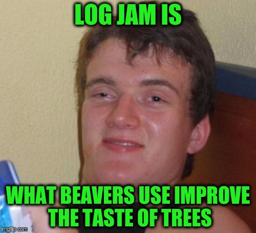 10 Guy | LOG JAM IS WHAT BEAVERS USE IMPROVE THE TASTE OF TREES | image tagged in memes,10 guy,funny,beavers,log jam,trees | made w/ Imgflip meme maker