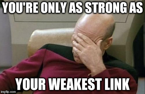 Captain Picard Facepalm Meme | YOU'RE ONLY AS STRONG AS YOUR WEAKEST LINK | image tagged in memes,captain picard facepalm | made w/ Imgflip meme maker