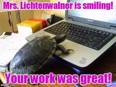 Turtle Computer | Mrs. Lichtenwalner is smiling! Your work was great! | image tagged in turtle computer | made w/ Imgflip meme maker