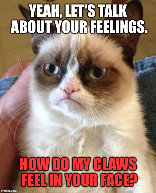 Scratching the surface | YEAH, LET'S TALK ABOUT YOUR FEELINGS. HOW DO MY CLAWS FEEL IN YOUR FACE? | image tagged in memes,grumpy cat,scratch,deathclaw,hurt feelings,facepalm | made w/ Imgflip meme maker