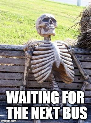 Waiting Skeleton Meme | WAITING FOR THE NEXT BUS | image tagged in memes,waiting skeleton | made w/ Imgflip meme maker