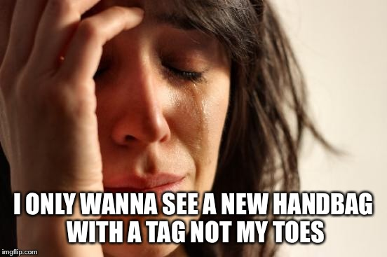First World Problems Meme | I ONLY WANNA SEE A NEW HANDBAG WITH A TAG NOT MY TOES | image tagged in memes,first world problems | made w/ Imgflip meme maker