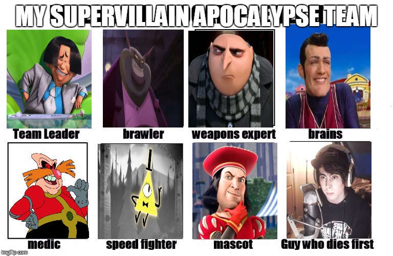 My Zombie Apocalypse Team | MY SUPERVILLAIN APOCALYPSE TEAM | image tagged in my zombie apocalypse team | made w/ Imgflip meme maker