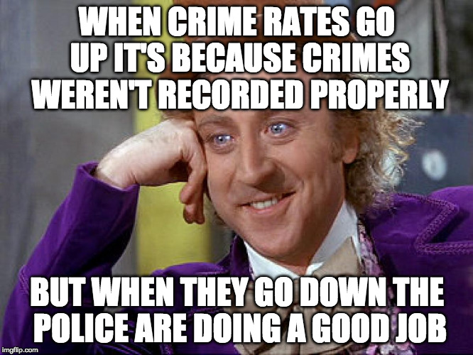 So What are the Crime rates? | WHEN CRIME RATES GO UP IT'S BECAUSE CRIMES WEREN'T RECORDED PROPERLY BUT WHEN THEY GO DOWN THE POLICE ARE DOING A GOOD JOB | image tagged in big willy wonka tell me again,crime,crime rates | made w/ Imgflip meme maker