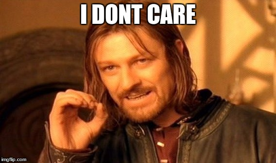 One Does Not Simply Meme | I DONT CARE | image tagged in memes,one does not simply | made w/ Imgflip meme maker