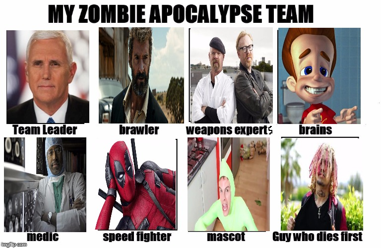 My Zombie Apocalypse Team | image tagged in my zombie apocalypse team | made w/ Imgflip meme maker