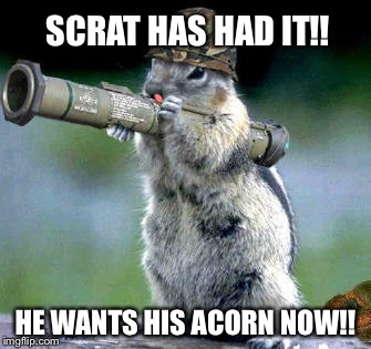 Bazooka Squirrel Meme | SCRAT HAS HAD IT!! HE WANTS HIS ACORN NOW!! | image tagged in memes,bazooka squirrel | made w/ Imgflip meme maker
