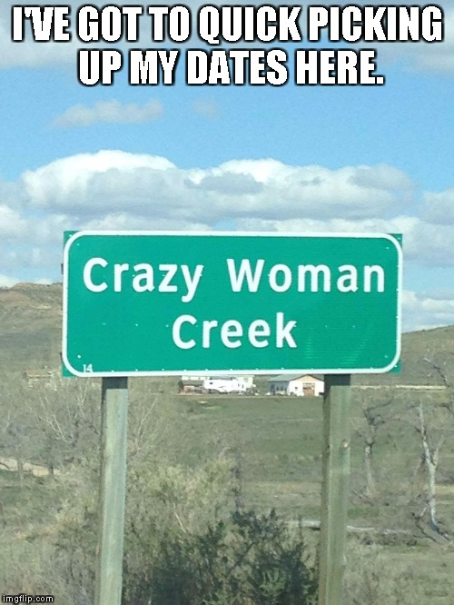 I'VE GOT TO QUICK PICKING UP MY DATES HERE. | image tagged in crazy woman creek | made w/ Imgflip meme maker