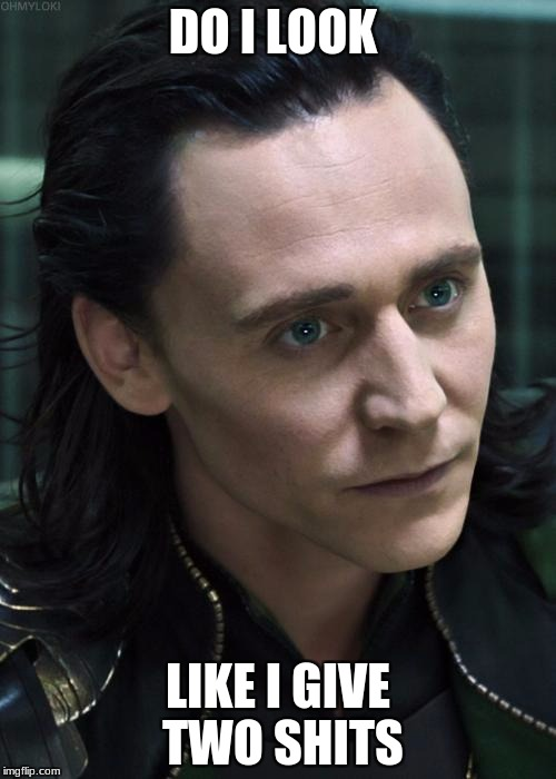 Nice Guy Loki | DO I LOOK LIKE I GIVE TWO SHITS | image tagged in memes,nice guy loki | made w/ Imgflip meme maker