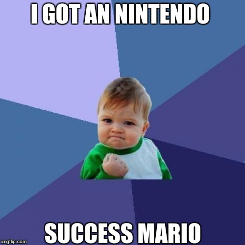 Success Kid Meme | I GOT AN NINTENDO SUCCESS MARIO | image tagged in memes,success kid | made w/ Imgflip meme maker