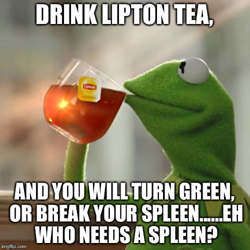 But Thats None Of My Business Meme | DRINK LIPTON TEA, AND YOU WILL TURN GREEN, OR BREAK YOUR SPLEEN......EH WHO NEEDS A SPLEEN? | image tagged in memes,but thats none of my business,kermit the frog | made w/ Imgflip meme maker