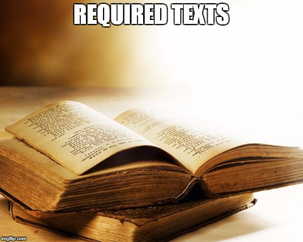 old books | REQUIRED TEXTS | image tagged in old books | made w/ Imgflip meme maker