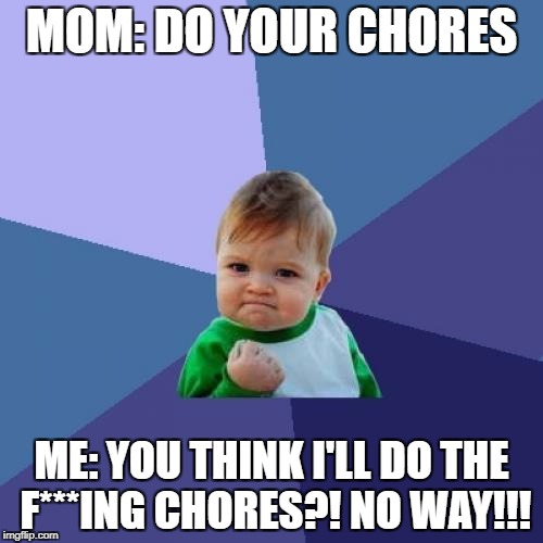 Success Kid Meme | MOM: DO YOUR CHORES ME: YOU THINK I'LL DO THE F***ING CHORES?! NO WAY!!! | image tagged in memes,success kid | made w/ Imgflip meme maker