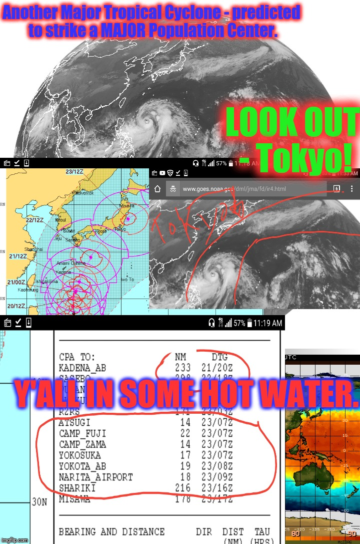 Attention IMGFLIP'ers w/ Japanese concerns. Typhoon Lan (25W) modeled to Strike Tokyo directly - as a Cat 2-3 storm.  | Another Major Tropical Cyclone - predicted to strike a MAJOR Population Center. Y'ALL IN SOME HOT WATER. LOOK OUT - Tokyo! | image tagged in typhoon lan,disaster train,warning sign,global warming,rexxon mobil,buggy whip futures | made w/ Imgflip meme maker