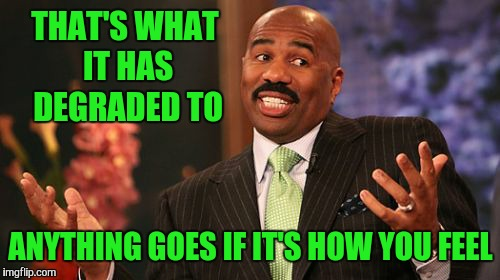 Steve Harvey Meme | THAT'S WHAT IT HAS DEGRADED TO ANYTHING GOES IF IT'S HOW YOU FEEL | image tagged in memes,steve harvey | made w/ Imgflip meme maker