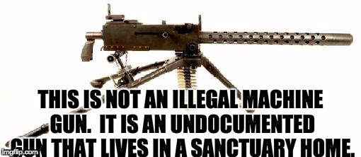 THIS IS NOT AN ILLEGAL MACHINE GUN.  IT IS AN UNDOCUMENTED GUN THAT LIVES IN A SANCTUARY HOME. | image tagged in browning machine gun | made w/ Imgflip meme maker