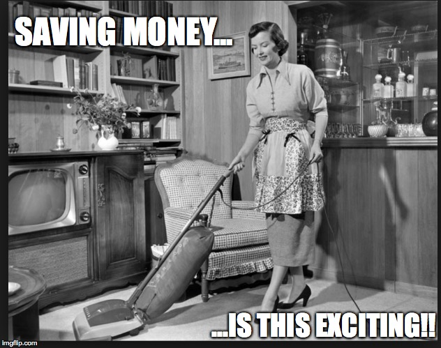 money | SAVING MONEY... ...IS THIS EXCITING!! | image tagged in 1950s,50's housewife | made w/ Imgflip meme maker