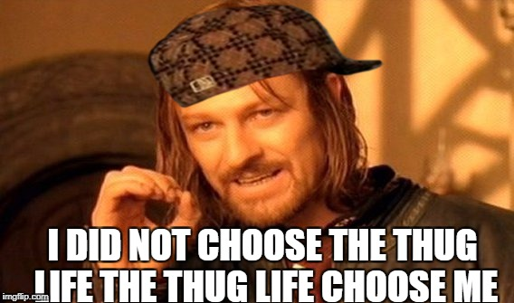 One Does Not Simply Meme | I DID NOT CHOOSE THE THUG LIFE THE THUG LIFE CHOOSE ME | image tagged in memes,one does not simply,scumbag | made w/ Imgflip meme maker