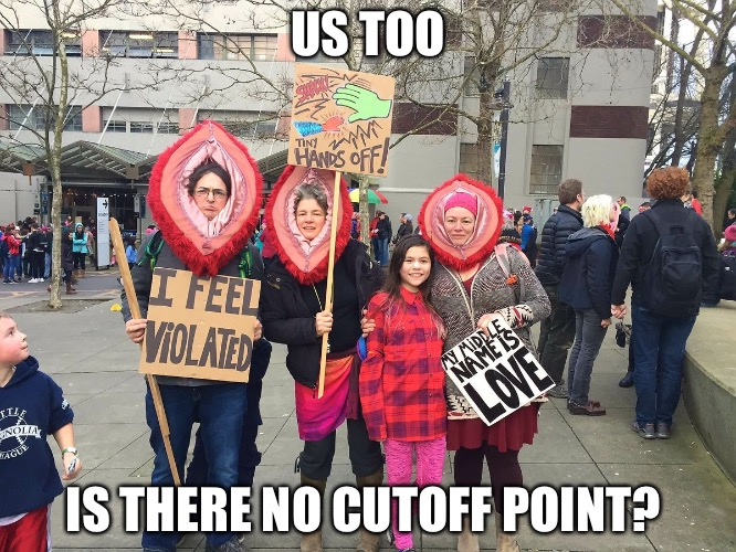 US TOO IS THERE NO CUTOFF POINT? | image tagged in pink hats | made w/ Imgflip meme maker