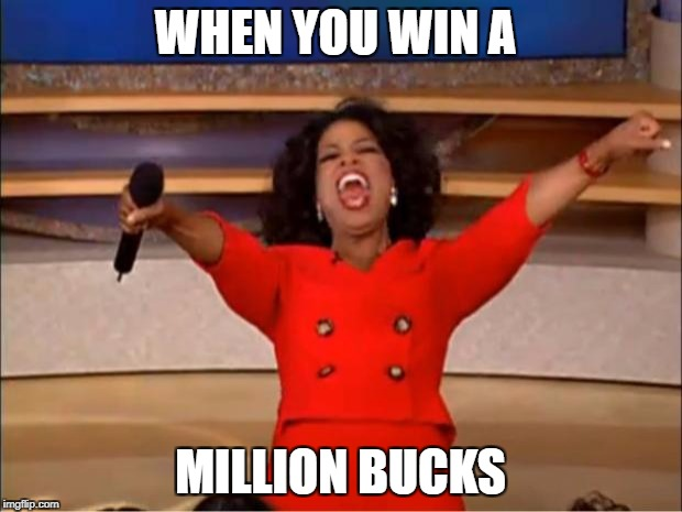Oprah You Get A Meme | WHEN YOU WIN A MILLION BUCKS | image tagged in memes,oprah you get a | made w/ Imgflip meme maker