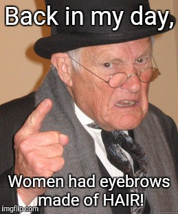 Back In My Day Meme | Back in my day, Women had eyebrows made of HAIR! | image tagged in memes,back in my day | made w/ Imgflip meme maker