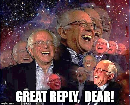 Bernie Laff | GREAT REPLY,  DEAR! | image tagged in bernie laff | made w/ Imgflip meme maker