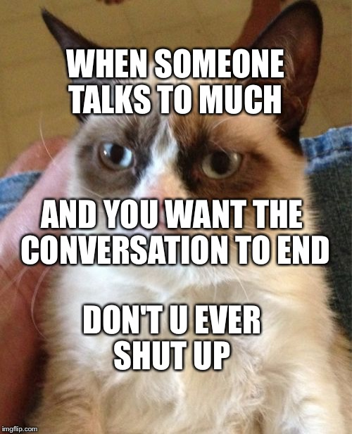 Grumpy Cat Meme | WHEN SOMEONE TALKS TO MUCH AND YOU WANT THE CONVERSATION TO END DON'T U EVER SHUT UP | image tagged in memes,grumpy cat | made w/ Imgflip meme maker