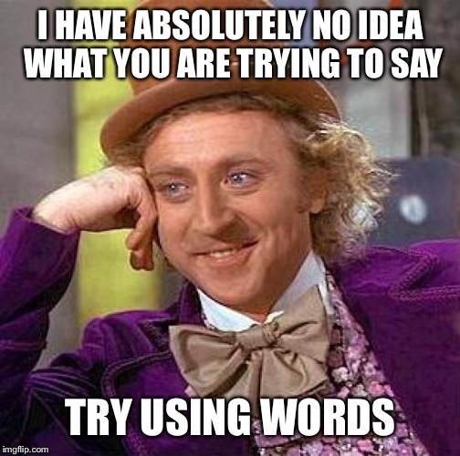 Creepy Condescending Wonka Meme | I HAVE ABSOLUTELY NO IDEA WHAT YOU ARE TRYING TO SAY TRY USING WORDS | image tagged in memes,creepy condescending wonka | made w/ Imgflip meme maker