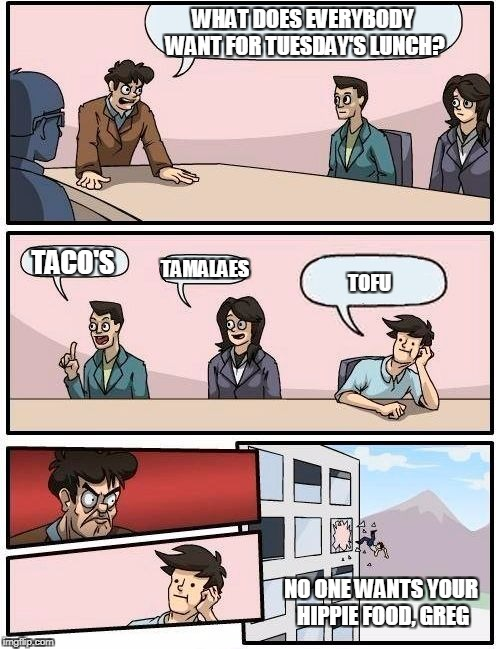 Boardroom Meeting Suggestion Meme | WHAT DOES EVERYBODY WANT FOR TUESDAY'S LUNCH? TACO'S TAMALAES TOFU NO ONE WANTS YOUR HIPPIE FOOD, GREG | image tagged in memes,boardroom meeting suggestion | made w/ Imgflip meme maker