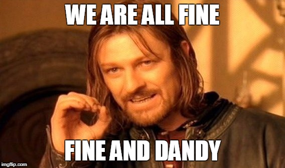 One Does Not Simply Meme | WE ARE ALL FINE FINE AND DANDY | image tagged in memes,one does not simply | made w/ Imgflip meme maker