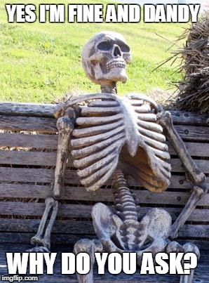 Waiting Skeleton Meme | YES I'M FINE AND DANDY WHY DO YOU ASK? | image tagged in memes,waiting skeleton | made w/ Imgflip meme maker
