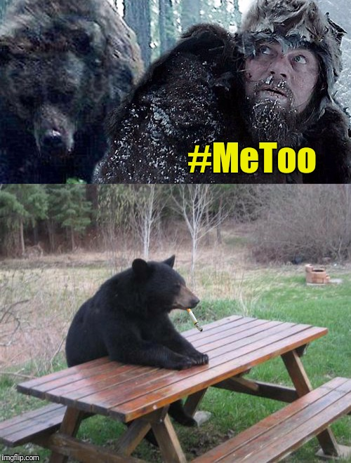 The scope of the sexual harassment problem in Hollywood is bearly known | #MeToo | image tagged in the revenant,metoo,bear,leonardo dicaprio | made w/ Imgflip meme maker