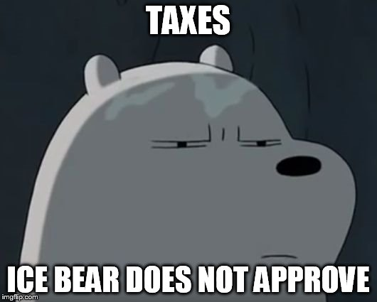 Ice Bear Does Not Approve | TAXES ICE BEAR DOES NOT APPROVE | image tagged in ice bear does not approve | made w/ Imgflip meme maker