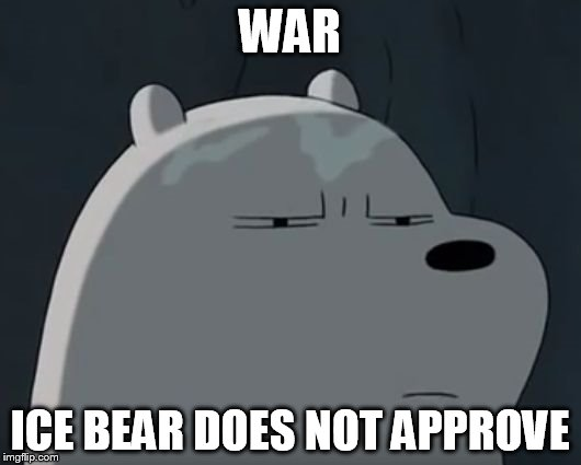 Ice Bear Does Not Approve | WAR ICE BEAR DOES NOT APPROVE | image tagged in ice bear does not approve | made w/ Imgflip meme maker