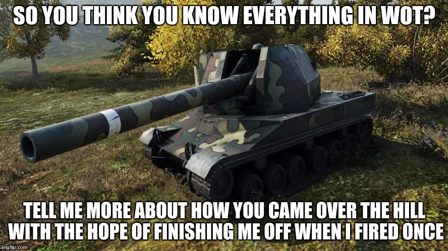SO YOU THINK YOU KNOW EVERYTHING IN WOT? TELL ME MORE ABOUT HOW YOU CAME OVER THE HILL WITH THE HOPE OF FINISHING ME OFF WHEN I FIRED ONCE | image tagged in batchat155 58meme | made w/ Imgflip meme maker