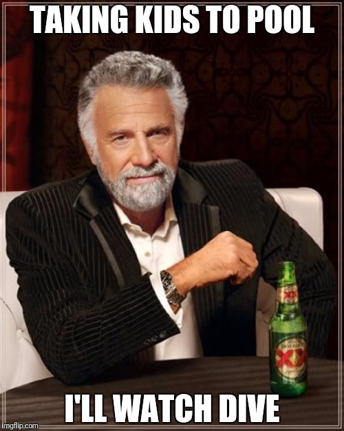 The Most Interesting Man In The World Meme | TAKING KIDS TO POOL I'LL WATCH DIVE | image tagged in memes,the most interesting man in the world | made w/ Imgflip meme maker