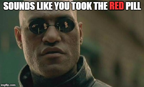 Matrix Morpheus Meme | SOUNDS LIKE YOU TOOK THE RED PILL RED | image tagged in memes,matrix morpheus | made w/ Imgflip meme maker