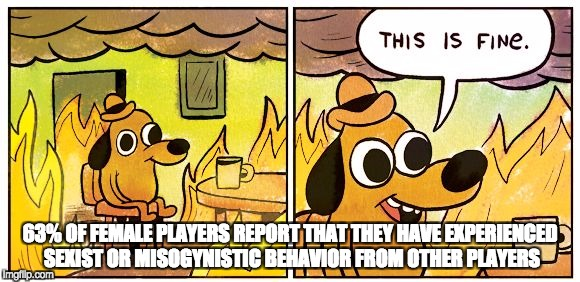 This is fine dog | 63% OF FEMALE PLAYERS REPORT THAT THEY HAVE EXPERIENCED SEXIST OR MISOGYNISTIC BEHAVIOR FROM OTHER PLAYERS | image tagged in this is fine dog | made w/ Imgflip meme maker