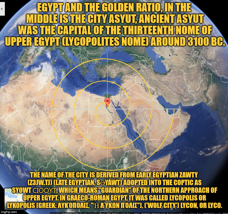 Egypt and the Golden ratio. | EGYPT AND THE GOLDEN RATIO, IN THE MIDDLE IS THE CITY ASYUT, ANCIENT ASYUT WAS THE CAPITAL OF THE THIRTEENTH NOME OF UPPER EGYPT (LYCOPOLITE | image tagged in egypt,the golden ratio,wolf,guardian,visible light spectrum,city | made w/ Imgflip meme maker
