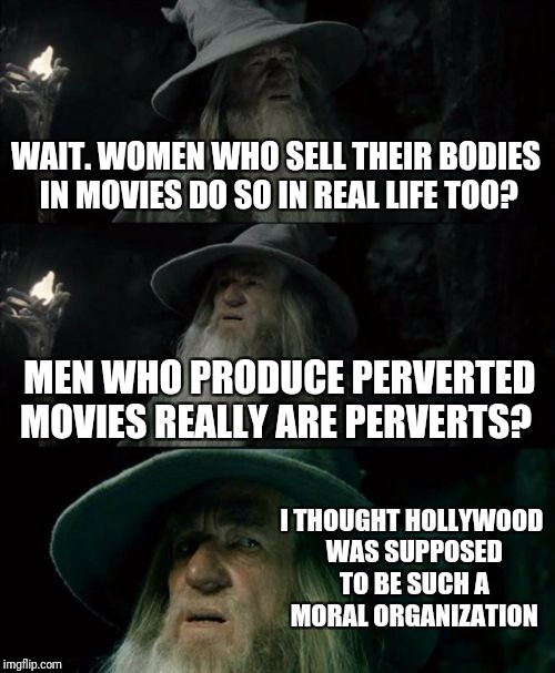 It's a good thing they all have such a small carbon footprint... | WAIT. WOMEN WHO SELL THEIR BODIES IN MOVIES DO SO IN REAL LIFE TOO? MEN WHO PRODUCE PERVERTED MOVIES REALLY ARE PERVERTS? I THOUGHT HOLLYWOO | image tagged in memes,confused gandalf | made w/ Imgflip meme maker