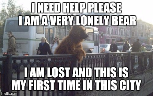 City Bear | I NEED HELP PLEASE I AM A VERY LONELY BEAR I AM LOST AND THIS IS MY FIRST TIME IN THIS CITY | image tagged in memes,city bear | made w/ Imgflip meme maker