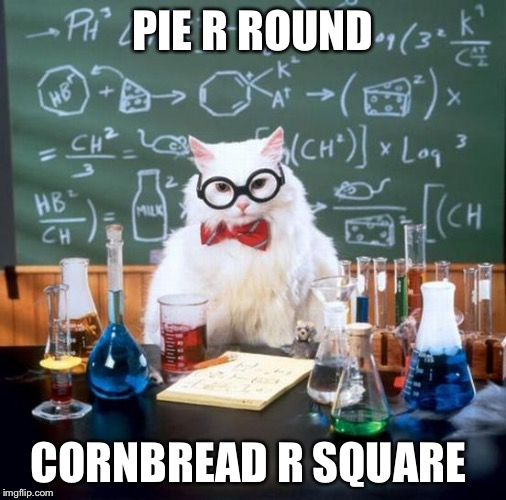 Hillbilly chemistry  | PIE R ROUND CORNBREAD R SQUARE | image tagged in chemistry cat | made w/ Imgflip meme maker