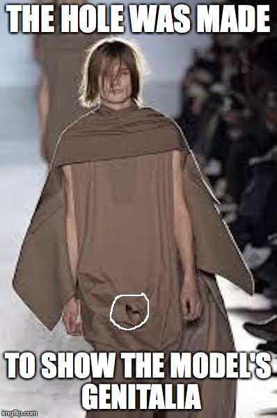 Rick Owen Hole | THE HOLE WAS MADE TO SHOW THE MODEL'S GENITALIA | image tagged in hole,memes,runway fashion,rick owens | made w/ Imgflip meme maker