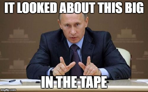 Vladimir Putin | IT LOOKED ABOUT THIS BIG IN THE TAPE | image tagged in memes,vladimir putin | made w/ Imgflip meme maker